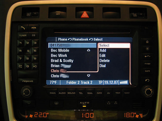 Porsche PCM phonebook